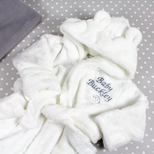 Personalised Baby Bathrobe With Ears - White