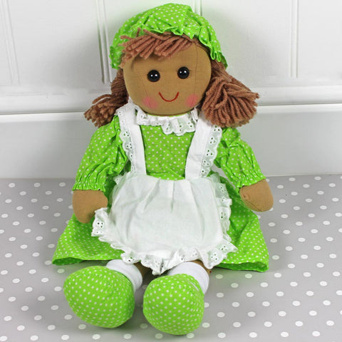 Personalised Rag Doll, Polka Dot Dress Green