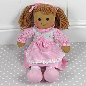Personalised Rag Doll Pink Gingham Dress