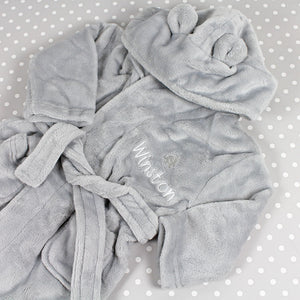 Personalised Baby Bathrobe With Ears - Grey