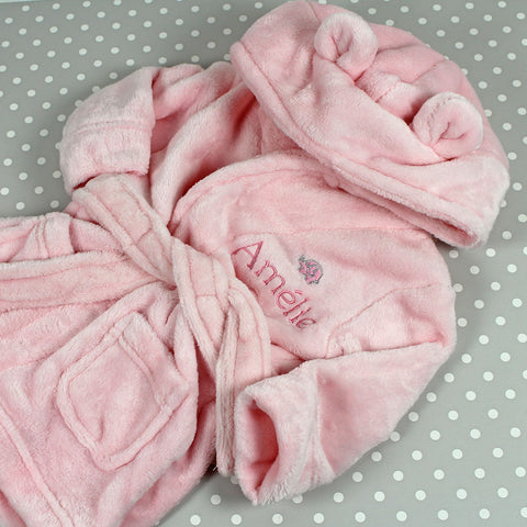 Personalised Baby Bathrobe With Ears - Pink