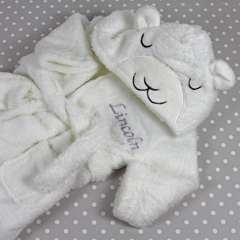 Personalised Baby Bathrobe With Ears - Fluffy Lamb Design