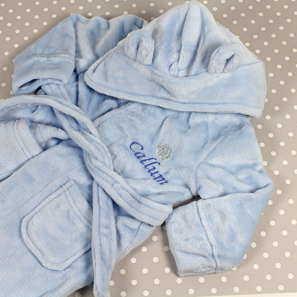 Personalised Baby Bathrobe With Ears - Blue