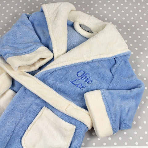 Personalised dressing gown in soft blue with cream accents by Mrs Priclkes