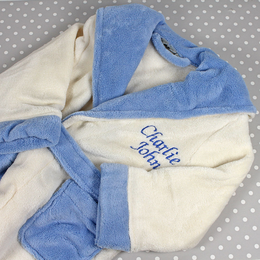 Personalised Bath robe in cream velour with pale blue accent by Mrs Prickles