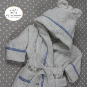 Personalised Bathrobe in white towelling with blue & white gingham trim by Mrs Prickles