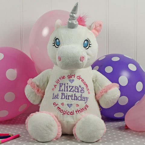 Personalised Birth Details Soft Toy - White Unicorn