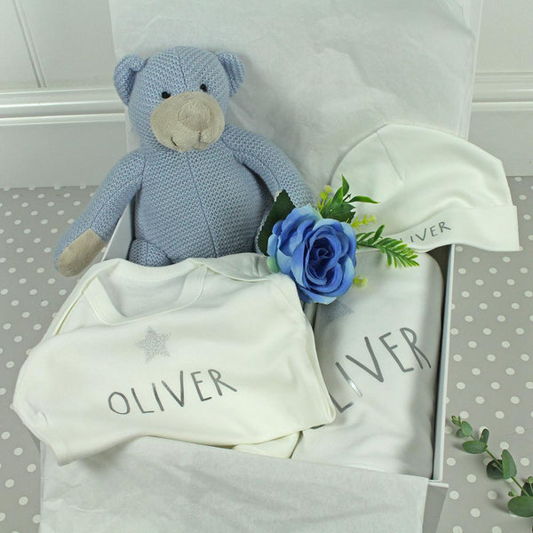 Personalised New Baby Gift Set - 6 Pieces,  Blue