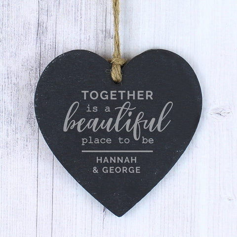 Personalised Slate Heart Decoration