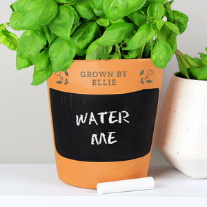 Personalised Floral Chalk Board Terracotta Planter