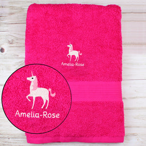 Personalised Unicorn Bright Pink Bath Towel