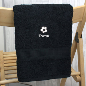 Personalised Football Black Hand Towel