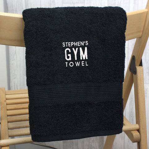 Personalised Gym Black Hand Towel