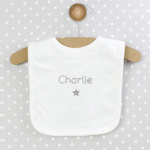 Personalised Silver Star Bib