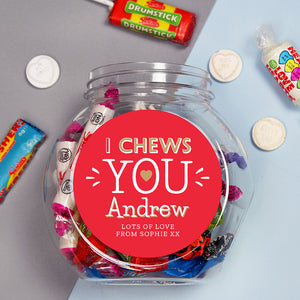 Personalised Sweet Jar - I chews you
