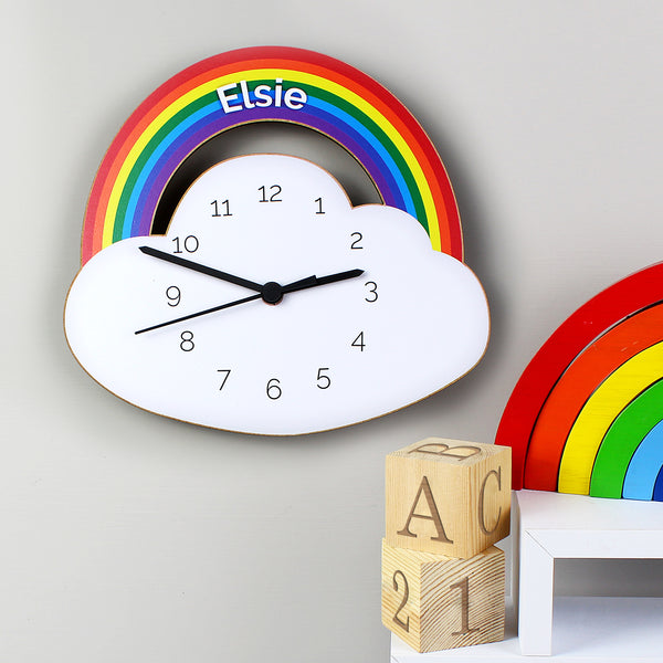 Personalised Wooden Clock Rainbow & Cloud Design