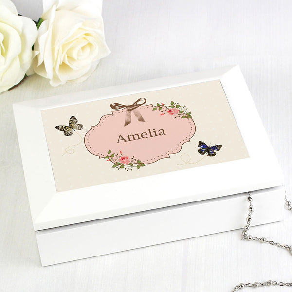 Personalised Jewellery box, white with florals and butterflies