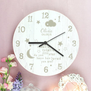 Personalised Twinkle Twinkle Shabby Chic Large Wooden Clock