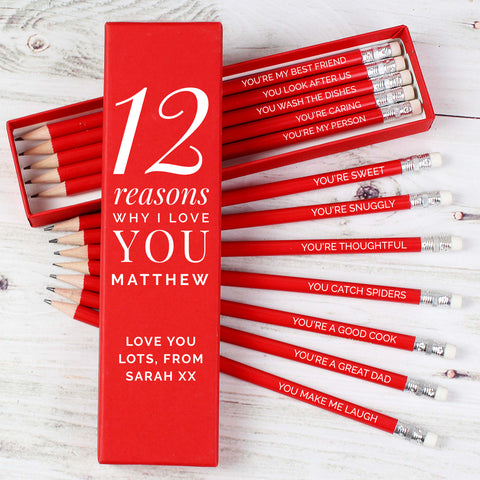 Personalised 12 Reasons Why I Love You Box and Pencil Set
