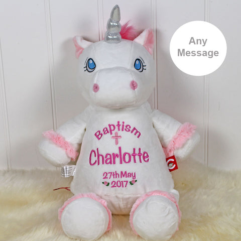 Personalised Christening Unicorn Pink Or White