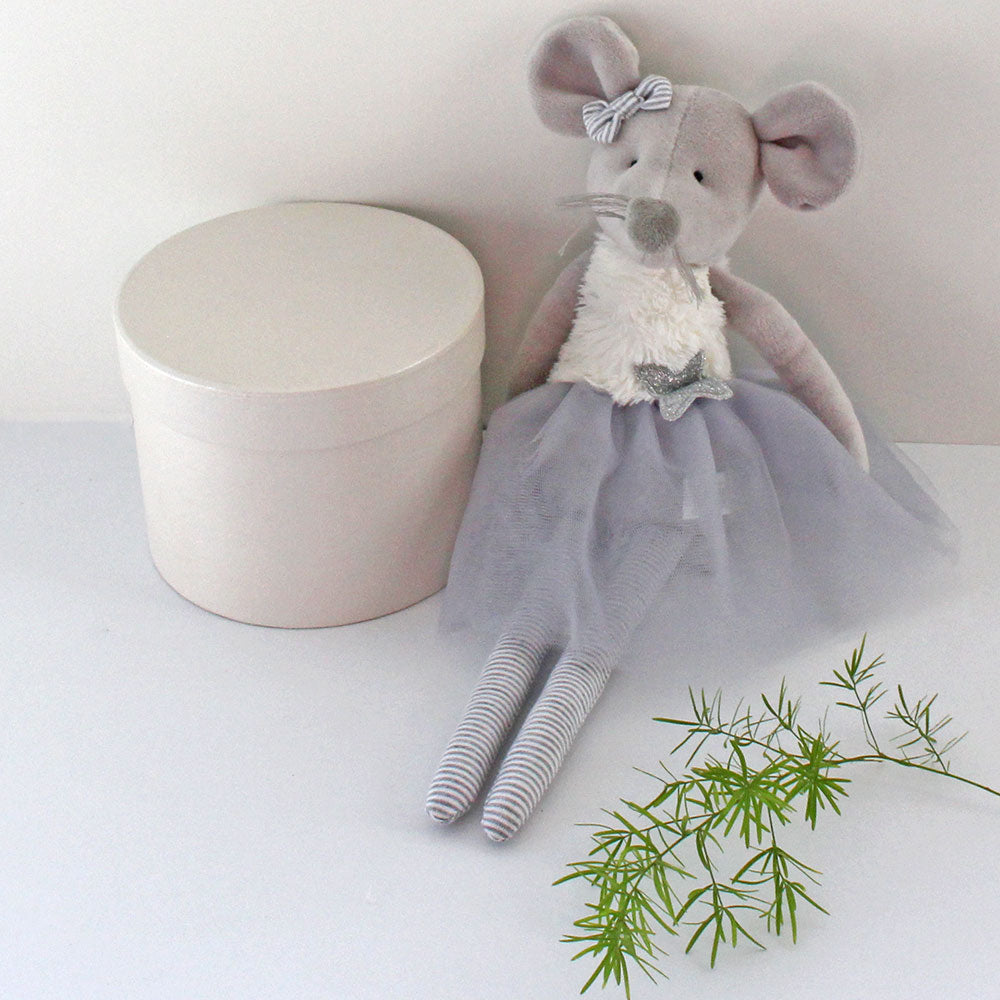 Personalised Rag Doll Ballerina Mouse in grey tulle skirt and soft white fluffy bodice
