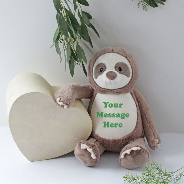 Personalised Sloth Soft Toy suitable for newborns add birth details or any message