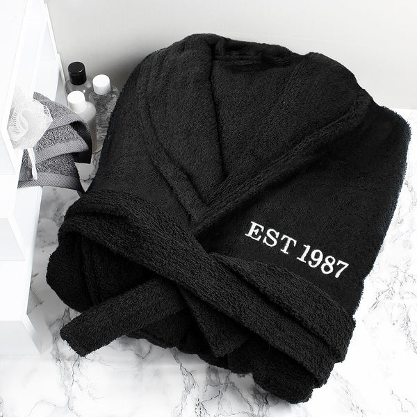 Personalised Black Dressing Gown