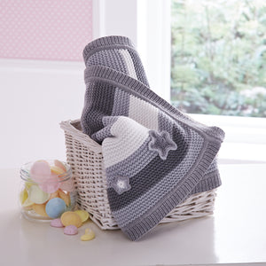 Mixed Stripe 100% Cotton Blanket Grey & White