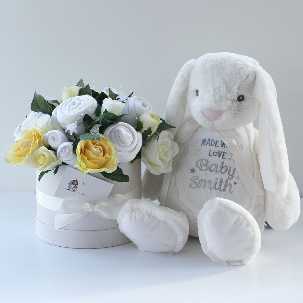 Baby clothes bouquet in lemon with large white bunny that can be personalised with any message