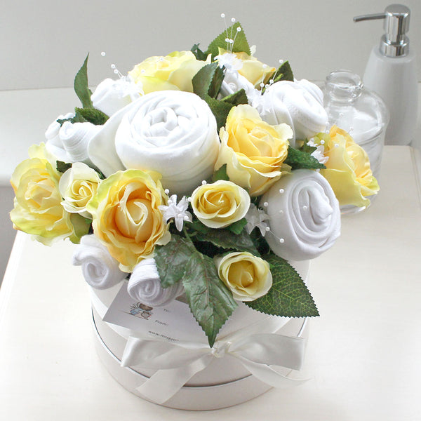 Baby clothes bouquet in lemon ideal for a  baby boy or girl