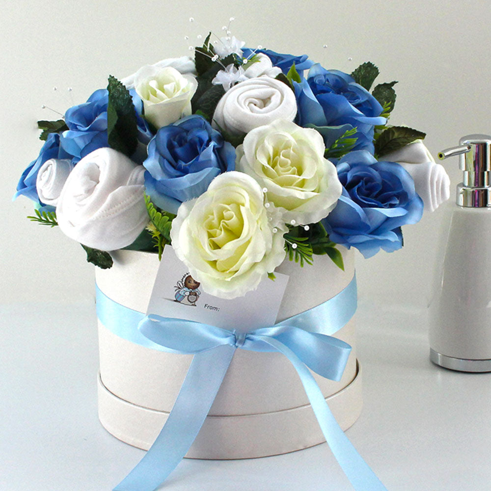 Large Luxury Baby Clothes Bouquet, Soft Blue
