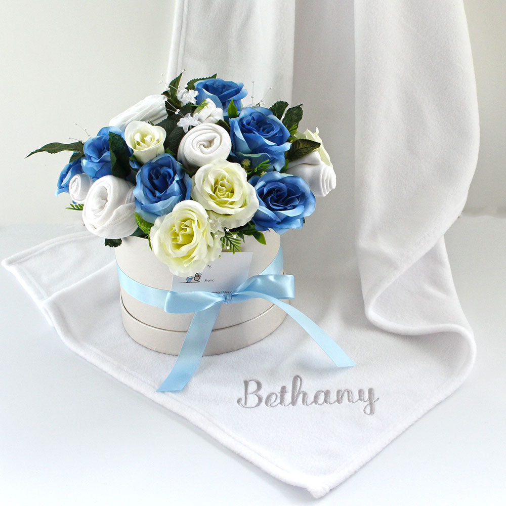 Large Luxury Baby Clothes Bouquet, Soft Blue With Personalised Blanket