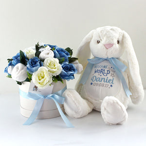 baby clothes bouqet in blue with a large white bunny that can be personalised with any message