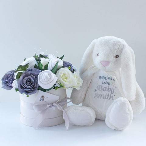 Baby clothes bouquet in grey with large white bunny that can be personalised with any message
