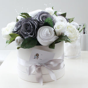 Large Luxury Baby Clothes Bouquet, Soft Grey