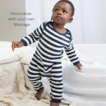 Personalised Navy / Soft White Romper Suit