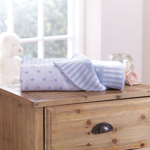 Polka Dot 100% Cotton Blanket Blue & White Mix