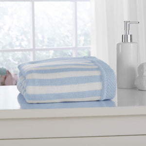 Candy Striped 100% Cotton Blanket Blue & White