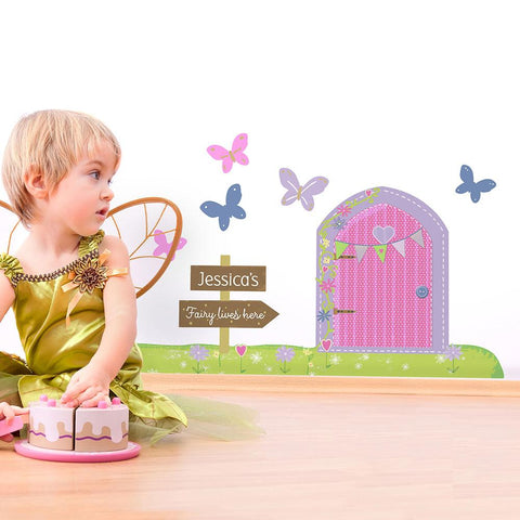 Peronalised wall art fairy door for nursery, playroom or bedroom