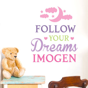 Personalised Wall Art - Follow Your Dreams, pink