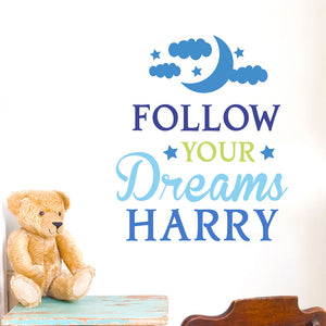 Personalised Nursery Wall Art, follow your dreams text with child's name