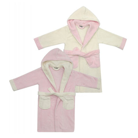 Child's Personalised Pink/Cream Bathrobe