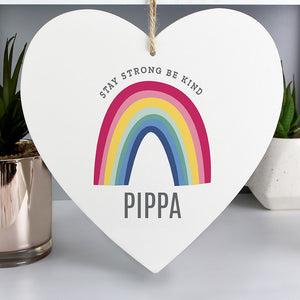 Personalised Rainbow Heart Decoration, large 22cm x 20cm