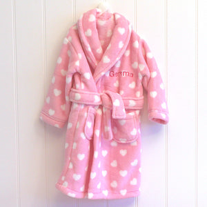 Personalised Pink Heart Bathrobe