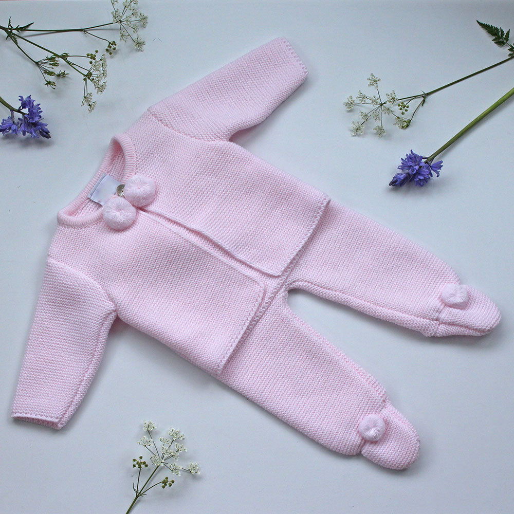 Knitted 2 piece jacket and legging set in soft pink by mrs prickles