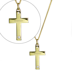 personalised 9ct gold plated cross ideal for christening, weddings, confirmation