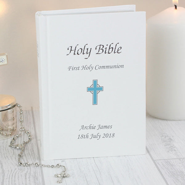 Personalised Bible - Blue Cross Design
