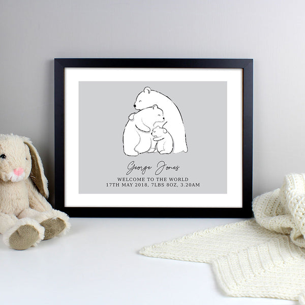 personalised-birth-details-frame---polar-bear-design