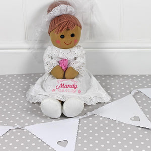 Personalised Rag Doll in white wedding dress with light brown hair Mrs Prickles