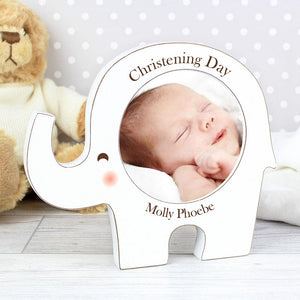 personalised photo frame in cute elephant design perfect for a baby or small child